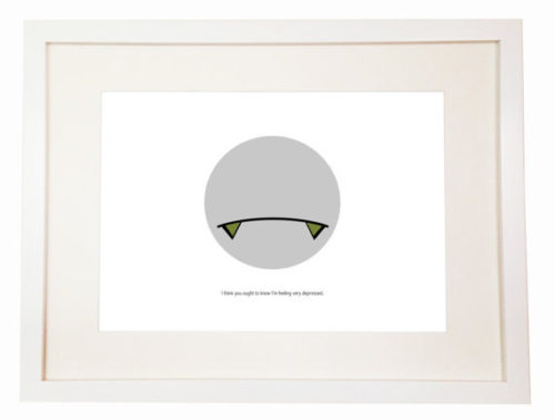 Marvin the Paranoid Android – You Can Include White Wood Frame