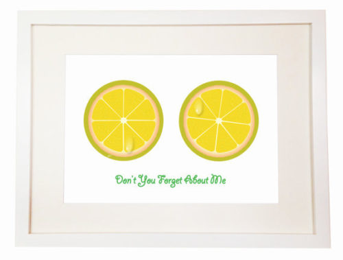 Don't You Forget About Me - Lemon Citron - You Can Include White Wood Frame - Simple Minds yellow color