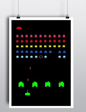 Space Invaders - Video Game Poster 8 bit gaming - You Can Include White Wood Frame - Tokyo Japan Game Tomohiro Nishikado for Gamers