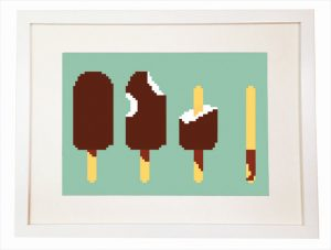 Geek Ice cream 8 bit art Nerdy Video Game Minecraft Art Print - Wall Art