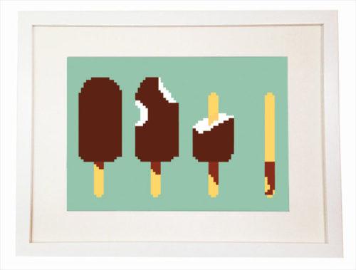 Geek Ice cream 8 bit art Nerdy Video Game Minecraft Art Print - Wall Art