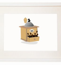 Need Caffeine - Coffee Grinder - You Can Include White Wood Frame - poster wall picture Italian style