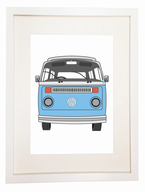 Volkswagen Type 2 - You Can Include White Wood Frame - Transporter Kombi - Hippy Van Hipster